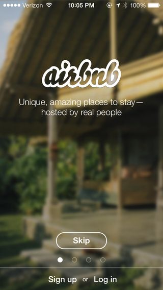 Airbnb - sign up log in