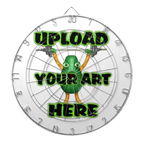 """Upload art to Dartboard Bull's-eye!  this regulation size dart board is easily customized and the target of your images, text, and designs for a great gift or the perfect addition to your game room. Made to your exact specifications, this dart board will definitely hit its mark!  Vibrant, full-color printing.  Regulation size board (18"""" diameter, 1"""" thick).  Includes 6 brass darts (3 American flag dart flights and 3 UK dart flights).  Finished with aluminum frame and hanging hook."""