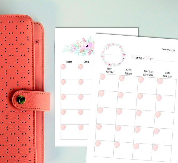 Pink Flowers Inserts pour planner, agenda et BuJo