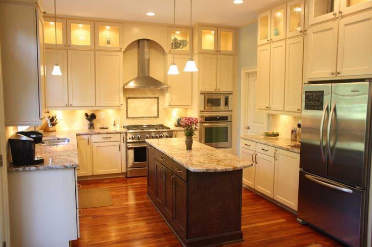 Platinum Kitchens Double Stacked Upper Cabinets With Glass And Narrow Island With Seating