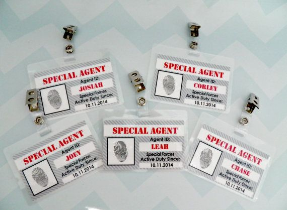 Super Cute Party Favors for your little Secret Agents Party!    Each child will love having their own ID Badge for the party! Available in sets of