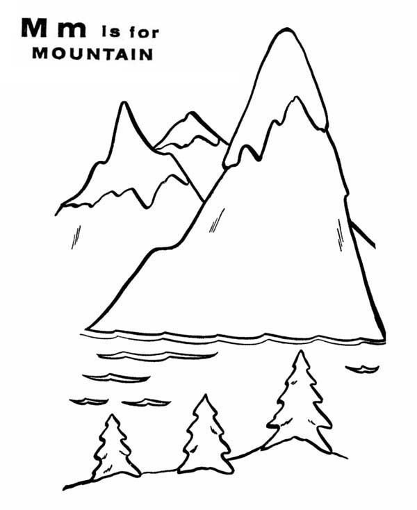 Letter M For Mountain And It Scenery Coloring Page Online Coloring Pages Coloring Pages Alphabet Coloring Pages