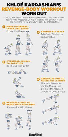 Learn the Workout That Got Khloé Kardashian Her 'Revenge Body' http://www.womenshealthmag.com/fitness/khloe-kardashian-workout-routine