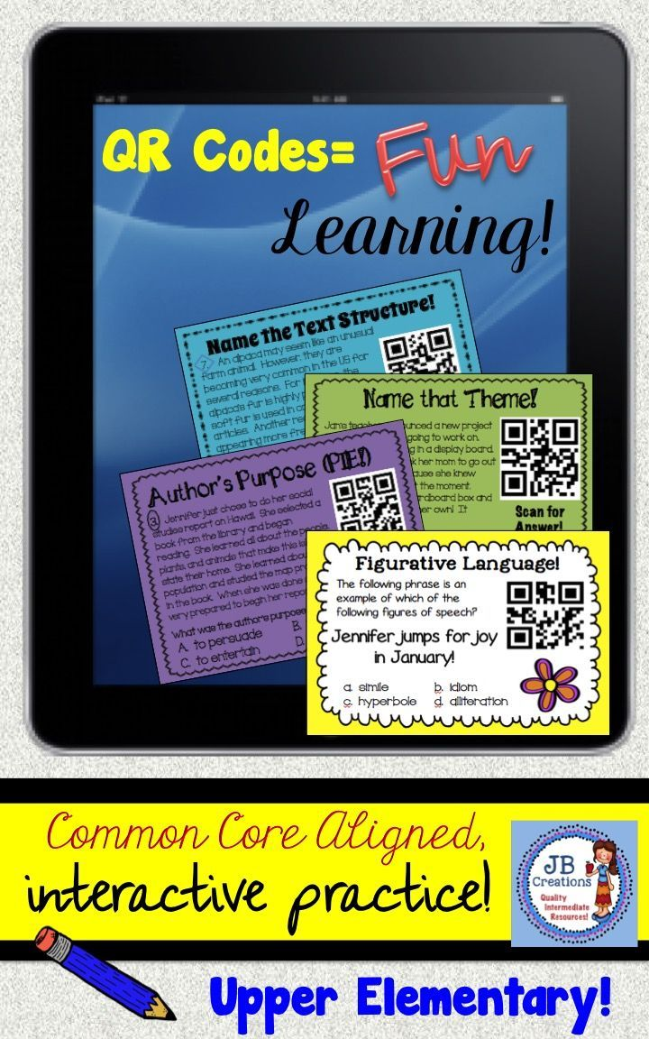 Engage your students with fun QR TECHNOLOGY and key COMMON CORE reinforcement at the same time! This bundle includes 4 original, hands on task card sets to complement the reading topics of genre, text structure, theme, and author's purpose! https://www.teacherspayteachers.com/Product/QR-Common-Core-Activity-Bundle-3rd-4th-5th-grades-1316404