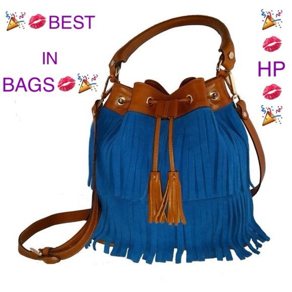 "Handmade Spanish Fringe Bucket Bag Marmott Accessories is a custom handmade Spanish designer bag launched in September 2015. The bag is made from the same leather and craftsmanship as famous Spanish luxury designer brand Loewe, which is exquisite with affordable price.  Deliver from Madrid, Spain to NY in 10 days after placing the order  Product detail: • 10""x6""x10"" • Color: Blue or Green or Burgundy+Brown • Material: 100% Leather • Suede fringe • Tassels drawstring closure • Adjustable…"