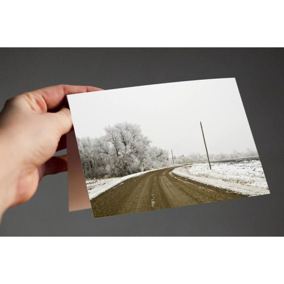 Frosty Roadway  If youre looking for a simple solution for Holiday cards this year, look no further! An elegant card to share warm Holiday wishes.  Available in multiple pack amounts, this card is 4x5.5, printed on archival, fine art Art Matte cardstock, very soft and smooth; a true experience to open. Each card is blank on the inside, and comes with white envelopes. A standard stamp will work to mail for this size card in the USA.  Make sure to explore my shop - I have many cards available…