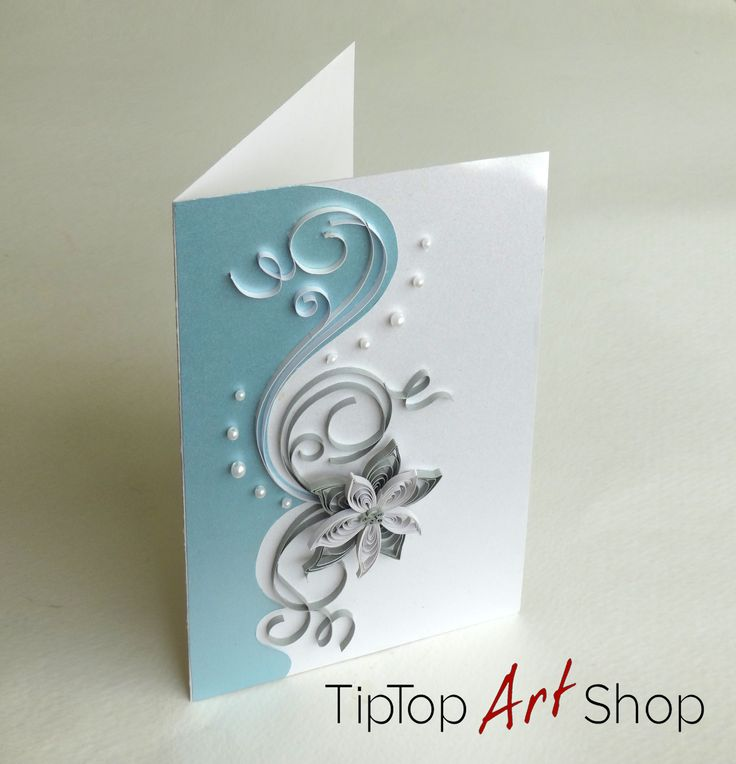 Quilled Flower Handmade Greeting Card in Blue, White and Silver by TipTopArtShop