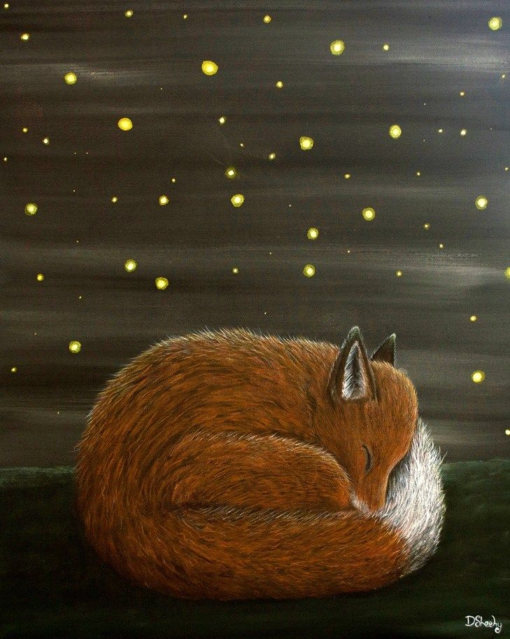 Sleeping by Firelight by Deborah Sheehy ~ Fox and Firefly Archival Art Print