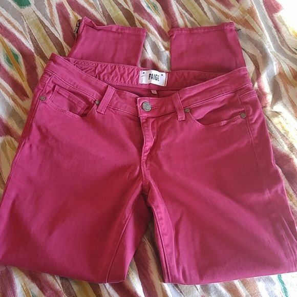 Paige Jeans..magenta!!! Kyle crop, magenta Paige jeans. Size 27. Side zip at ankle. 2 small pen marks on front (bottom) legs..see pics. Price reflects. Paige Jeans Jeans Ankle & Cropped