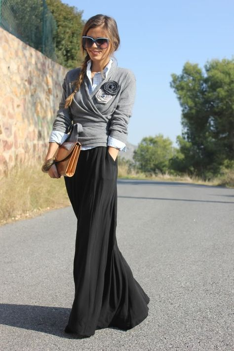 Loving the long skirts with sweaters this fall.