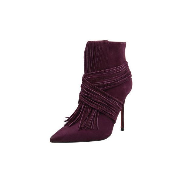 Carrano Scarlet Leather Fringe Bootie ($118) ❤ liked on Polyvore featuring shoes, boots, ankle booties, purple, pointed-toe ankle boots, bootie boots, short fringe boots, leather fringe boots and purple booties