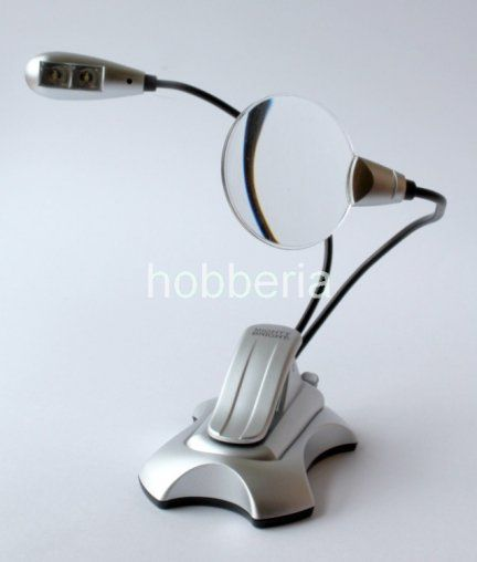 Mini lupa z lampką LED 2 oraz klipsem - Silver