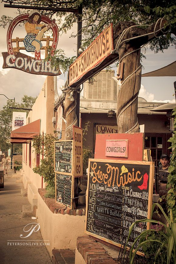 Cowgirls Restaurant, Santa Fe, New Mexico. Plenty of great food and live music. Highly recommended!