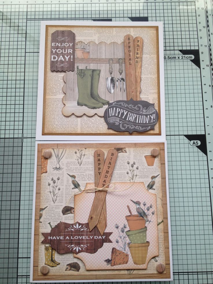 "2 cards using Craftwork cards ""Potting Shed"" collection."
