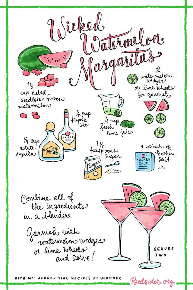 Creative. Seductive. Good to drink. These Wicked Watermelon Margaritas are meant for two. For more sexy aphrodisiac recipes, visit Bedsider.org.