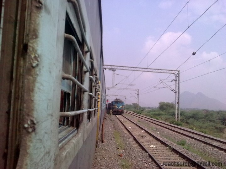 A speeding train on the scenic Konkan Railway route