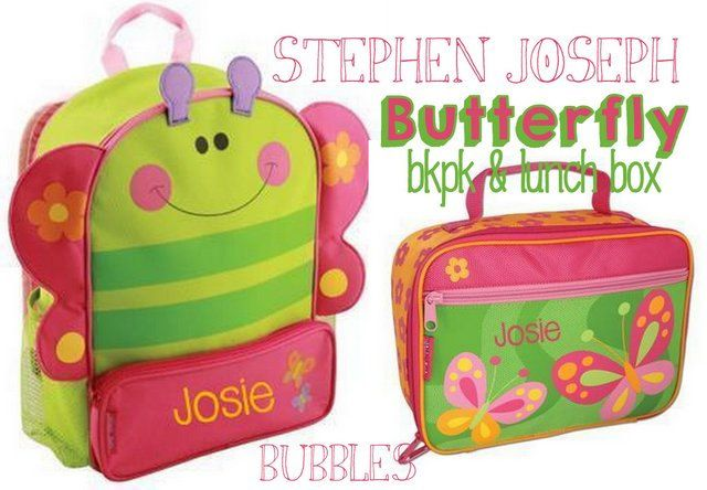 girls monogrammed Stephen Joseph butterfy Backpack and Lunch Box Set BACK to SCHOOL preschool daycare by bubblesemb on Etsy