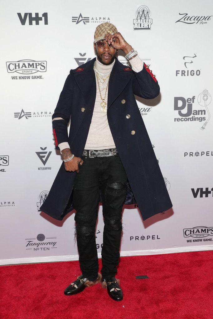2 Chainz Wears Gucci Coat, Shoes, Hat, Amiri Jeans and Goyard Belt at 2016 Def Jam Holiday Party  |  UpscaleHype