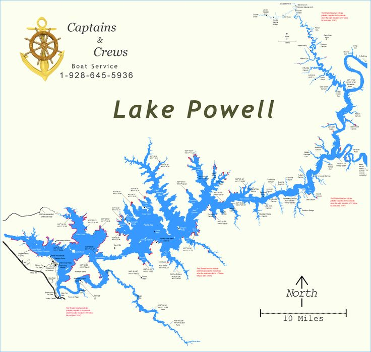Map of Lake Powell - Captains and Crews
