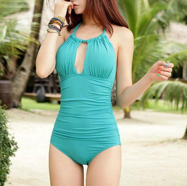 Simple fashion solid color piece swimsuit