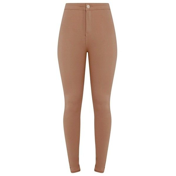 Tanya Camel Jeggings ($97) ❤ liked on Polyvore featuring pants, leggings, bottoms, jeans, jeggings leggings, high-waisted jeggings, high-rise leggings, camel leggings and high-waisted leggings
