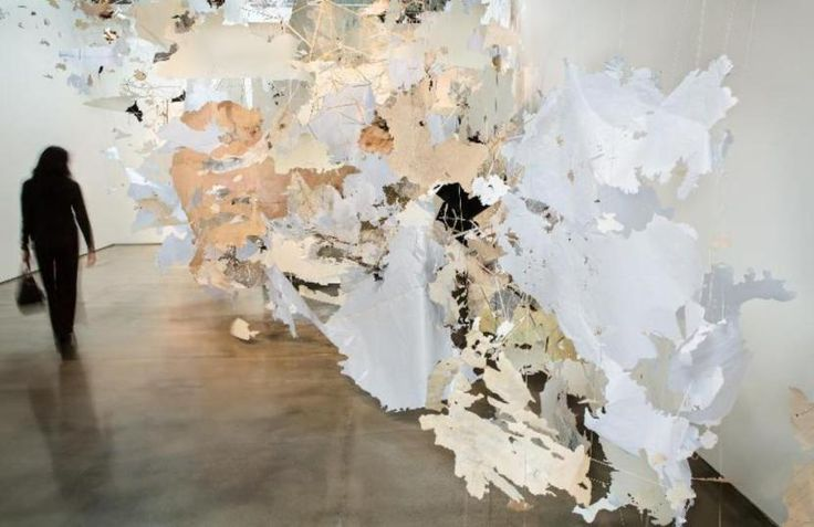 """Val Britton/The Continental Interior/2013/Site-specific mixed media installation of hand cut paper, ink, tempera, and thread.Created for the exhibition """"Intimate Immensity"""" at the San Jose Institute of Contemporary Art, San Jose, California."""