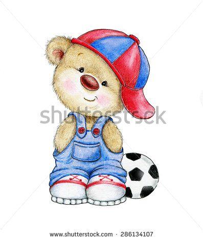 Cute Teddy bear boy with ball