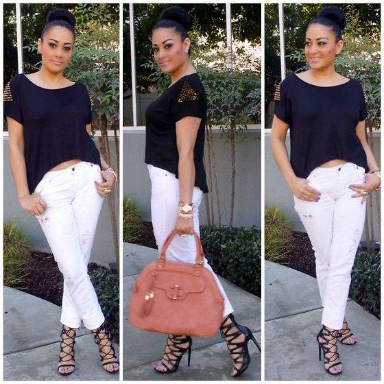 Papaya's Clothing White Jeans, Shoedazzle Heels, T.J. Maxx Top
