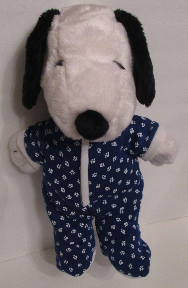 "Kohls Snoopy Plush Stuffed Peanuts Blue Sleeper Pajama Footie 16"" Nice Condition #KohlsCaresforKids"