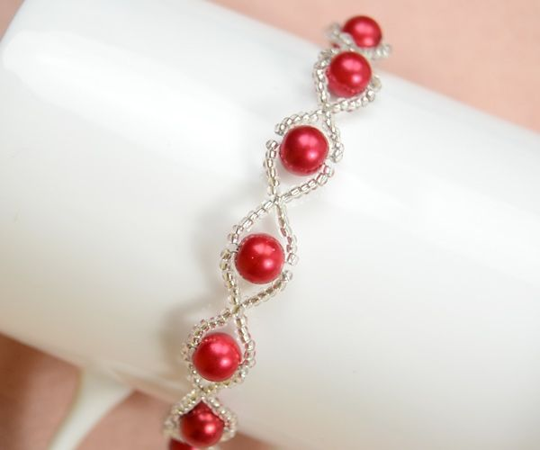 How to Make Your Own Red Pearl Bracelet with Clear Seed Beads by wanting