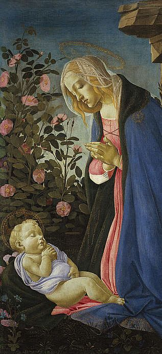 Painting by Sandro Botticelli, ca 1490, The Virgin adoring the slleeping Christ child.