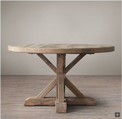 Restoration Hardware Look-Alikes: Save 245.00 @ Williams-Sonoma vs Restoration Hardware Distressed Elm Belgian Trestle Round Dining Table
