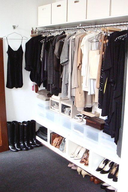 organised open wardrobe!
