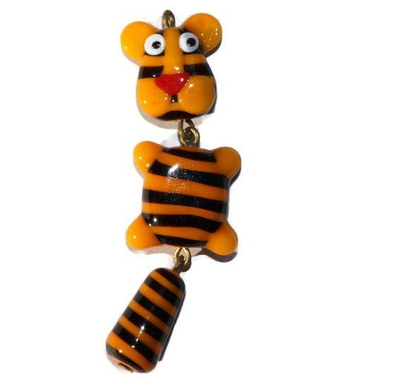 Orange Tiger Lampwork Pendant Animal by CzechBeadsExclusive, Kč312.00