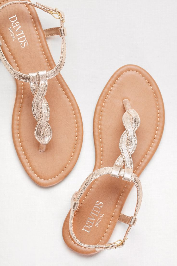 For a long night of dancing, a pair of cute but comfortable sandals are perfect for prom! Shop these gold twisted t-strap sandals from David's Bridal