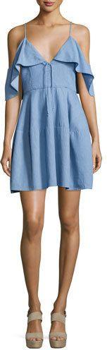 N Nicholas Cold-Shoulder Chambray Mini Dress, Light Blue