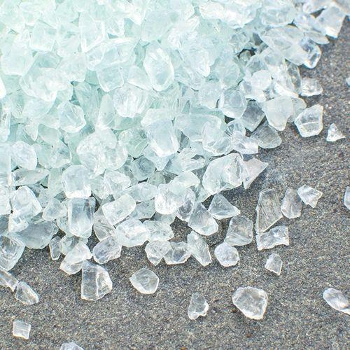 Our Crushed Glass Vase Filler Resembles Light Blue Sea