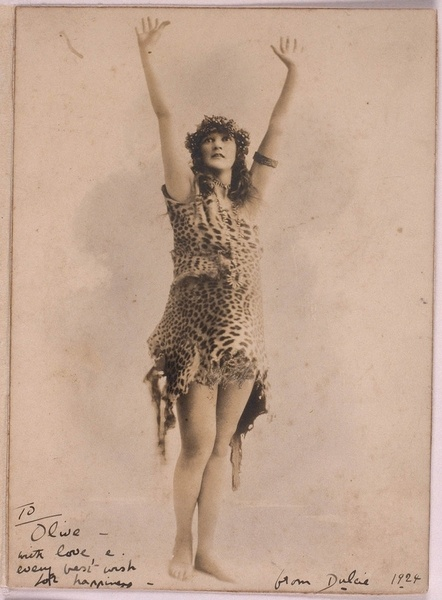 Dulcie Deamer, (1890-1972) was famous for appearing at the 1923 Artists Ball in her leopard skin costume. Officially crowned the Queen of Bohemia, she lived in Kings Cross during its heyday in the 1920s (the Golden Decade) when it was an enclave for struggling artists and writers. From the collection of the State Library of NSW   www.sl.nsw.gov.au