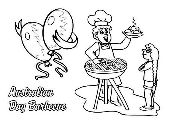 Australia Day Celebrating Australia Day With Barbecue Coloring Page