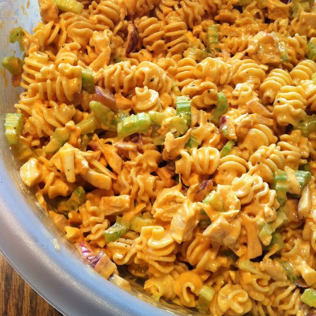Buffalo chicken pasta salad -- can use ranch as an alternative to the blue cheese dressing and use fake chicken