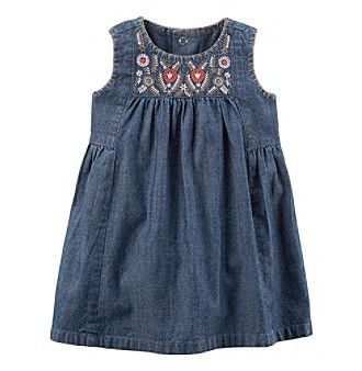 Carter's® Baby Girls' Embroidered Chambray Dress