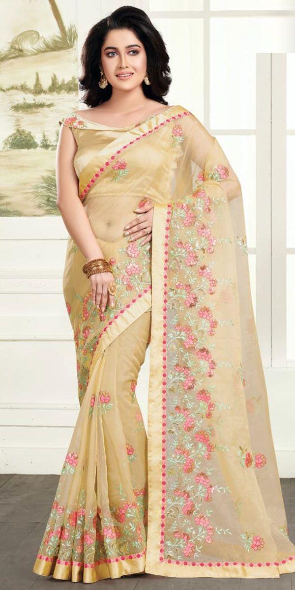 6524f8153bddb1 Hot Cream Organza Net Embroidery Saree. | Saree | Embroidery saree ...
