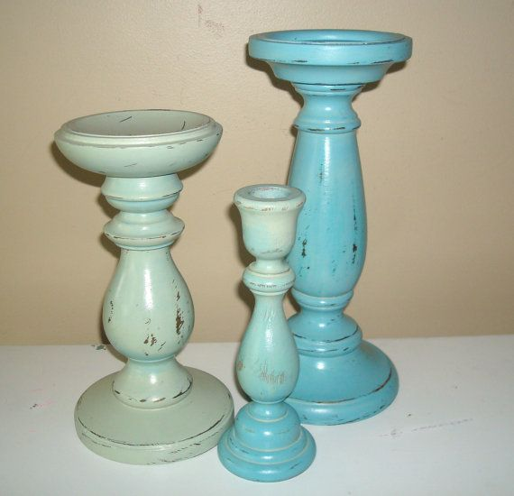 Chippy Paint Large Candle Holders in Agave and by makingtimetc
