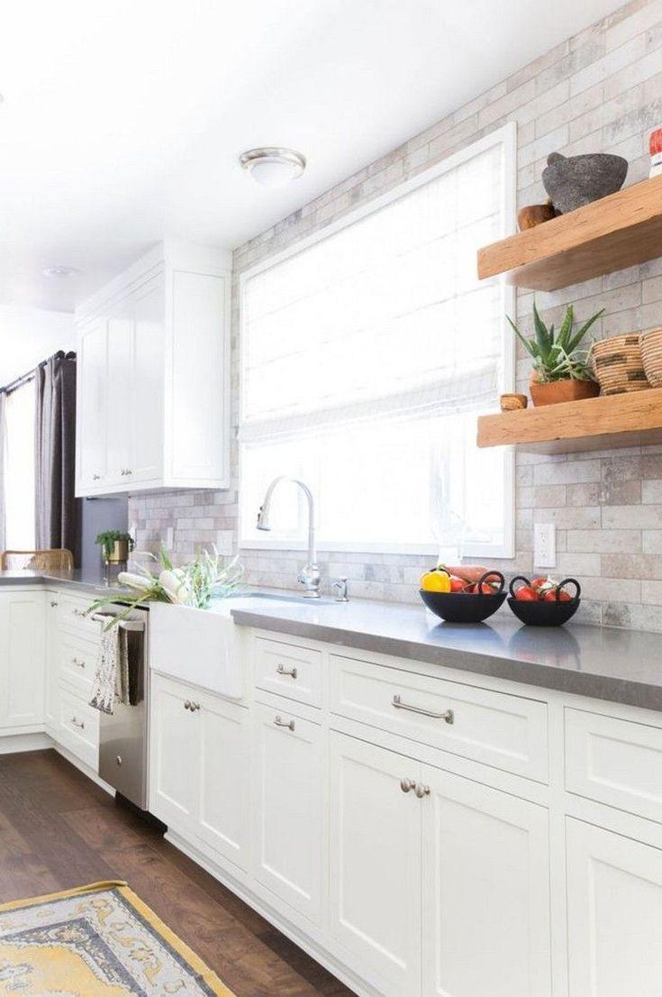 White Cabinets Stone Backsplash 2021 in 2020 | Backsplash ...