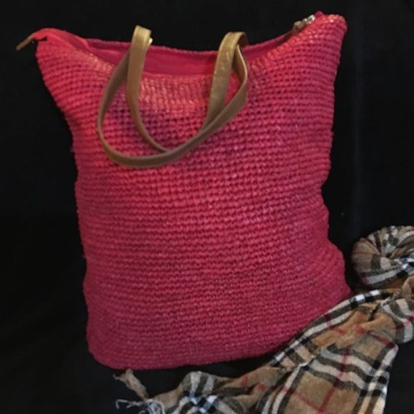 Straw Studios extra large tote Gorgeous red tote , perfect for summer time , beach , pool , traveling etc , brand new Straw Studios Bags Totes