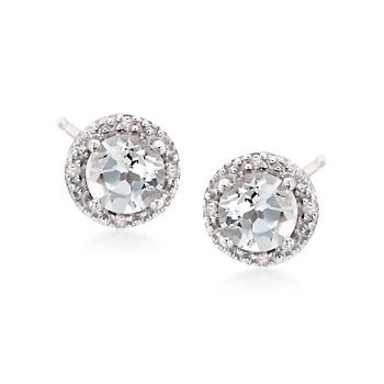 2.00 ct. t.w. Round White Topaz Stud Earrings With Diamond Accents in Sterling Silver