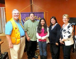 The McDonough Lions Club recently recognized the winner of its 2014 Peace Poster Contest. This year's winner is Anne Ocampo. From left, McDonough Lions Club President Patrick Pignataro, Adrian Ocampo, Anne Ocampo and Gay Ocampo, and Christine Thompson, the art teacher at Luella High School. (Special Photo)