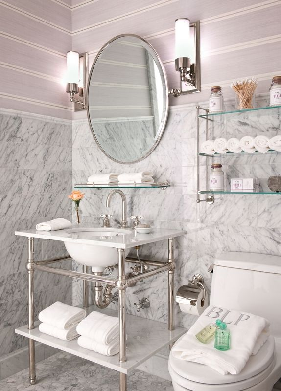 Things We Love: Console Sinks - Design Chic - love the wallpaper in the bathroom and the glass shelf is beautiful!