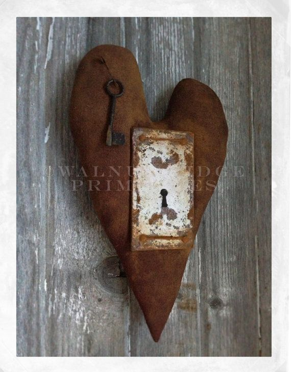 Instant Download Key to the Heart E-Pattern 13 inch Cloth Heart with Faux Door Plate by Walnut Ridge Primitives