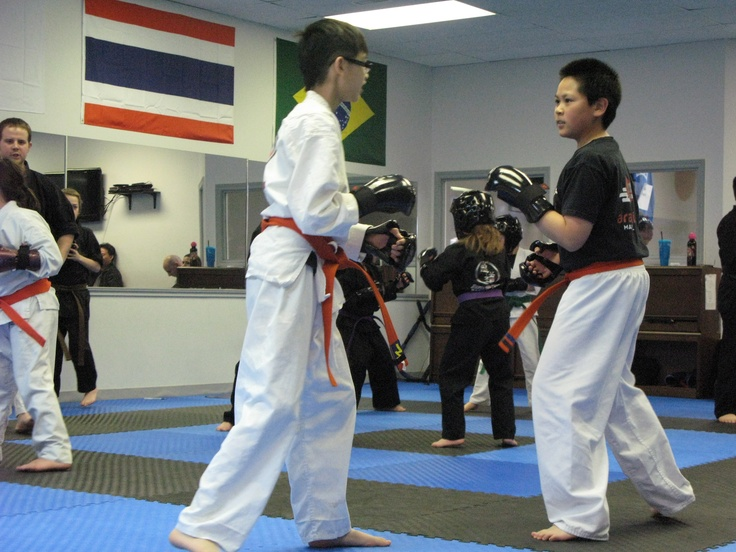 Sparring in kids Karate class